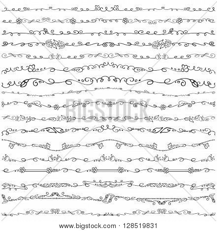Doodles seamless border, pattern, brushes and florish decor set.For design templates, invitations and menu.Vintage Hand drawing.For weddings, Valentines day, holidays, birthday.Vector