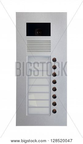 White inner audio and video panel for outdoor installation. Intercom system isolated on white background