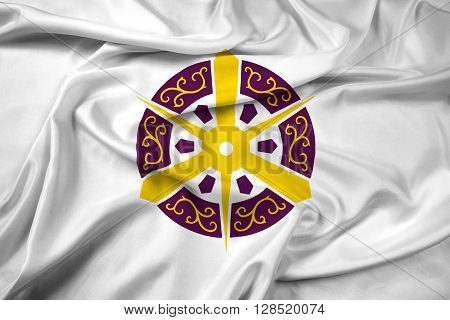 Waving Flag of Kyoto Japan, with beautiful satin background.