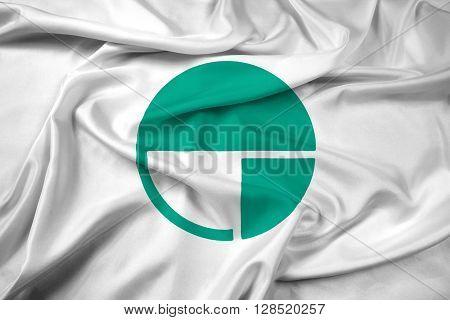 Waving Flag of Nagano Japan, with beautiful satin background.
