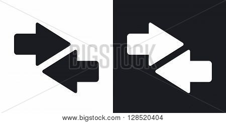 Vector both direction arrows icon. Two-tone version on black and white background