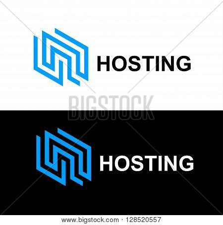Business Icon - Vector logo design template. Abstract emblem for communication technology, internet hosting service