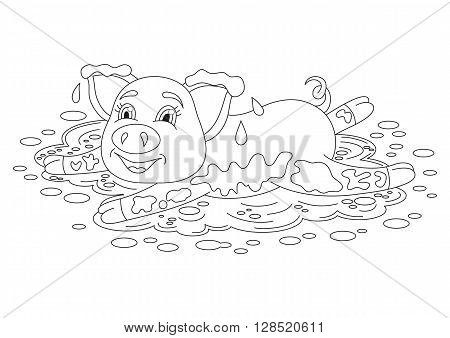 Vector illustration of cute pig in a puddle, funny piggy lying on dirt puddle, coloring book page for children