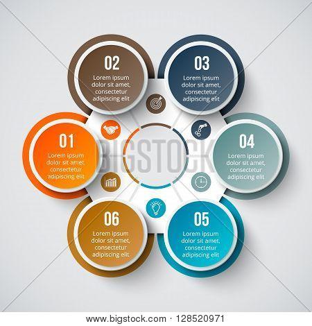 Vector circle element for infographic. Template for cycle diagram, graph, presentation and round chart. Business concept with 6 options, parts, steps or processes. Abstract background.