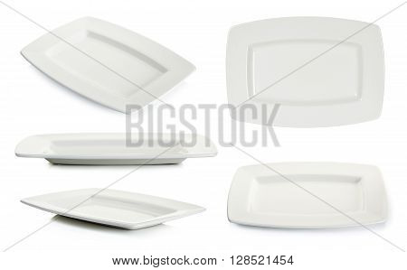 Empty White Square Plate Isolated