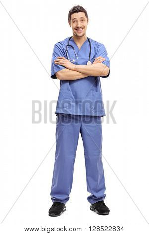 Full length portrait of a young and confident doctor posing in a blue uniform isolated on white background