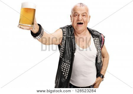 Excited mature punker holding a pint of beer and looking at the camera isolated on white background