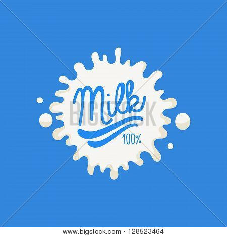 Double Underline Milk Product Logo Cool Flat Vector Design Template On Blue  Background