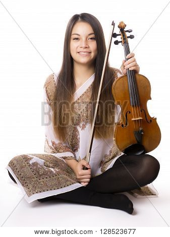 cheerful young asian woman holding violin or fiddle