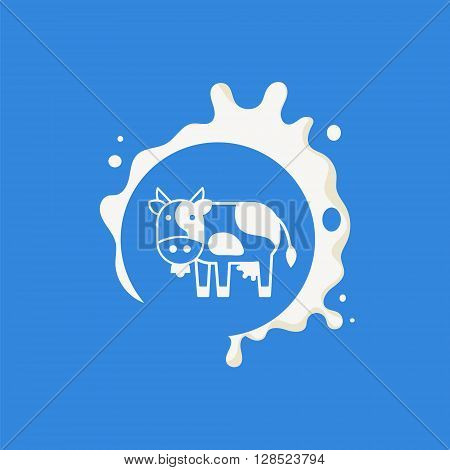 Cow Milk Product Logo Cool Flat Vector Design Template On Blue  Background