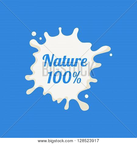 Nature Milk Product Logo Cool Flat Vector Design Template On Blue  Background