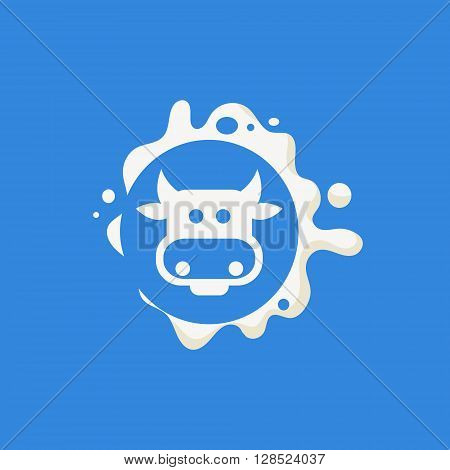 Cow Face Milk Product Logo Cool Flat Vector Design Template On Blue  Background