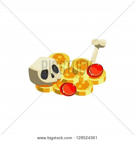 Gold And Scull Colorful Vector Icon In Childish Toy Style Design Isolated On White Background