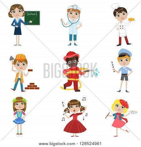 Children Future Profession Set Of Simple Design Illustrations In Cute Fun Cartoon Style Isolated On White Backgroun