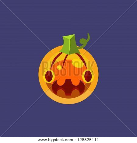 Stylised Simple Pumpkin Lamtern Simple Flat Vector Design In Colorful Childish Style Isolated Icon