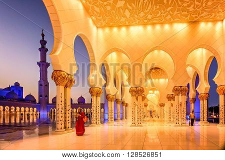 Abu Dhabi, UAE- March 2, 2016:Sheikh Zayed Grand Mosque at dusk in Abu Dhabi UAE