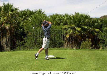 Golfer On The Tee Box.