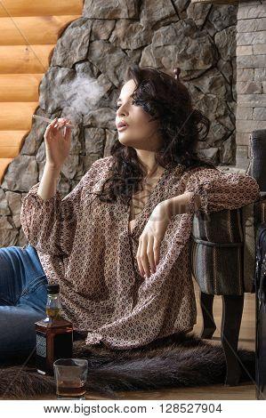 Girl Smokes Electronic Cigarette