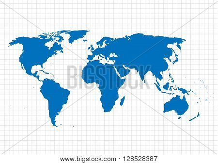 Blue vector map. World map blank. World map template.World map on the background of the grid. Vector illustration.