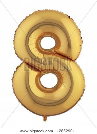 Number 8 isolated Gold Helium Balloon on a white background