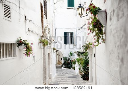 alley in white city Ostuni Apulia southern Italy