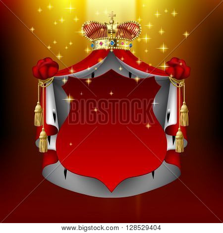 Illuminated royal mantle and gold crown with red signboard. Vintage concept design