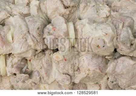 marinated meat with onions in mayonnaise Barbecue