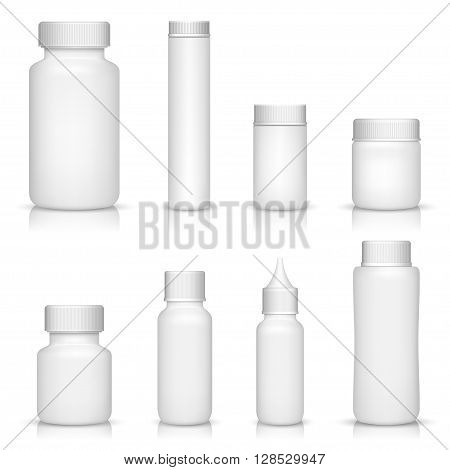 White medical containers set on white background
