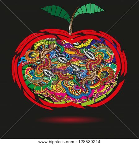 Bright apple in the primitive style doodle