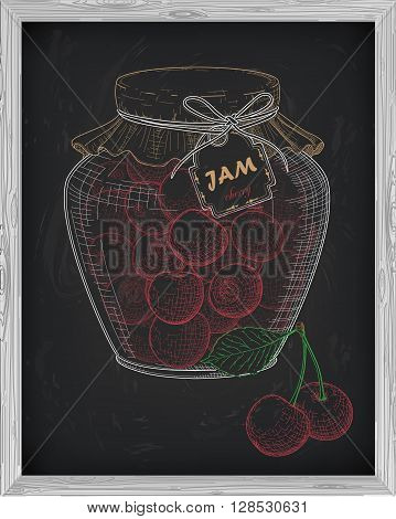 Beautiful Jar Of Homemade Jam With Cherry On A Black Background