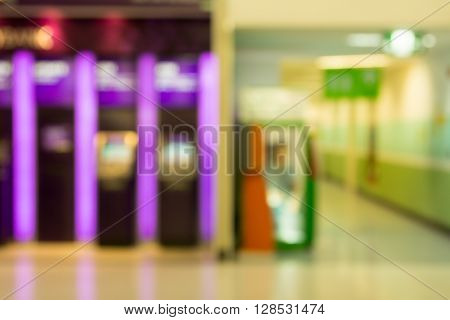 Abstract Blurry Bokeh Color Light Of Atm Cabinet.