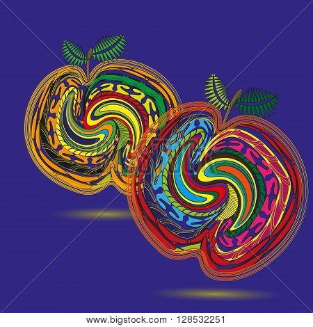 Drawing two bright peach