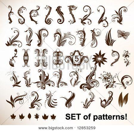 Set of vector vintage patterns.