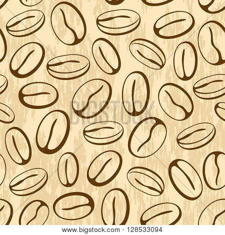 Seamless Pattern, Coffee Beans, Brown Contours Pictogram on Abstract Background. Vector