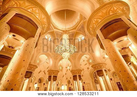 Interior in Sheikh Zayed Grand Mosque in Abu Dhabi UAE