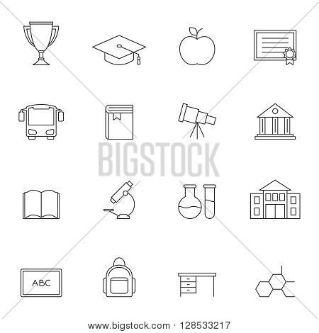 School education outline icons vol 3. School equipments set