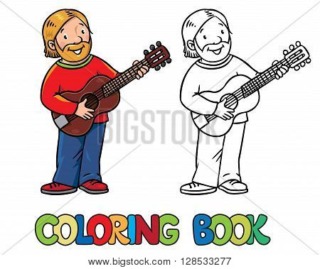 Coloring book of funny musician or guitarist or artist with guitar. Children vector illustration. Profession ABC series.
