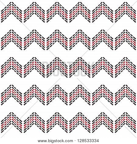 Seamless Zig Zag Chevron Pattern With Black And Red Dash Line