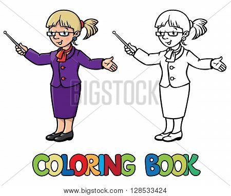 Coloring picture or coloring book of funny teacher with the pointer.  Profession ABC series. Children vector illustration.
