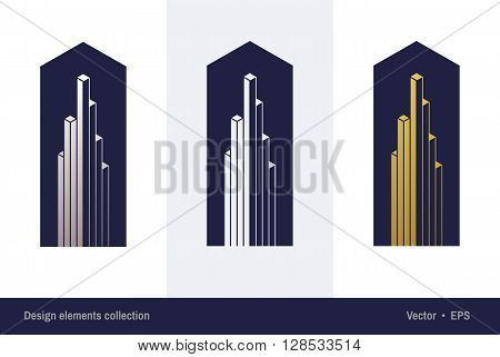 Logo design for accounting company. Real estate logo design. Business growth concept. Abstract commercial buildings icon. Skyscraper icon. City building vector. Downtown building shape. Vector logo