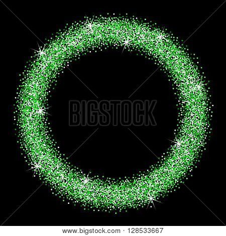 Green glitter frame on a black background. Round frame of green star dust. Abstract vector illustration
