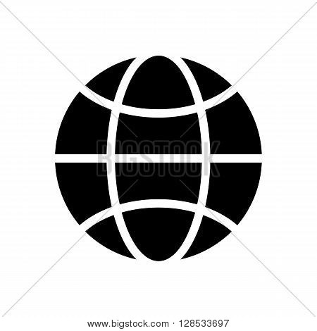 Vector black and white globe icon. Global design concept. Globe symbol for web print isolated on white background. Vector globe icon design element. Earth. Globe logo. Vector illustration.