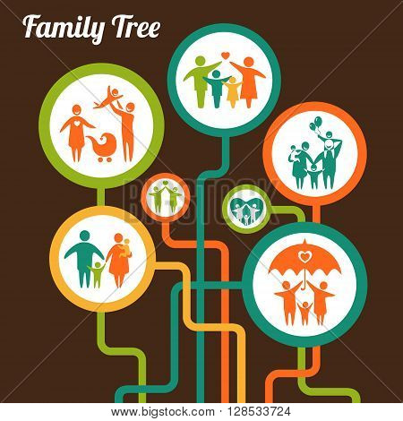Vector illustration of the family tree scheme