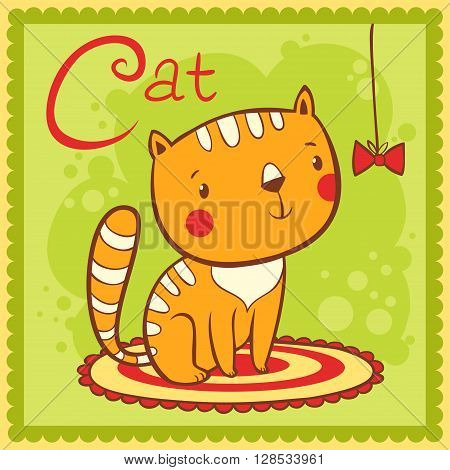 Animal alphabet for the kids. Illustrated alphabet letter C and cat.