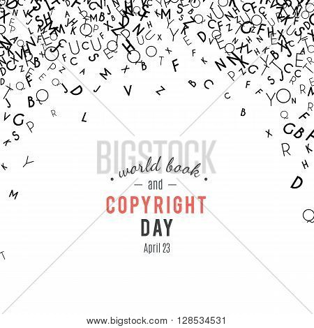 Abstract black alphabet ornament border isolated on white background. illustration for education, writing, poetic design. Random letters fall from top. World book and copyright day