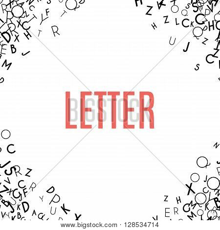 Abstract black alphabet ornament frame isolated on white background. illustration for education writing design. Random letters flying in corners. Alphabet book concept for grammar school