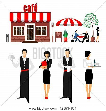 Flat young stylish male and female waiters. Cafe restaurant servant concept illustration icon set. People with cafe on the white background.