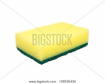 Yellow and green dishwashing sponge isolated on white