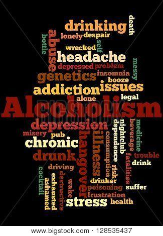 Alcoholism, Word Cloud Concept 10