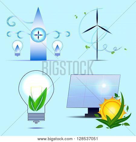 Alternative sources of energy. Vector set. Solar power wind bioenergy tidal power.